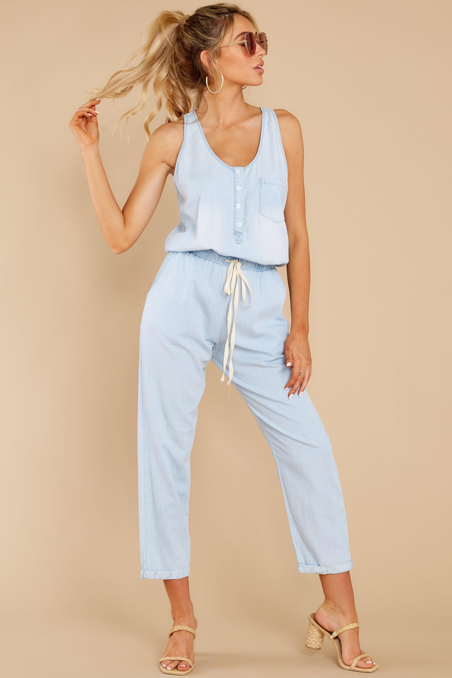 5 Play It Back Light Wash Chambray Jumpsuit at reddress.com