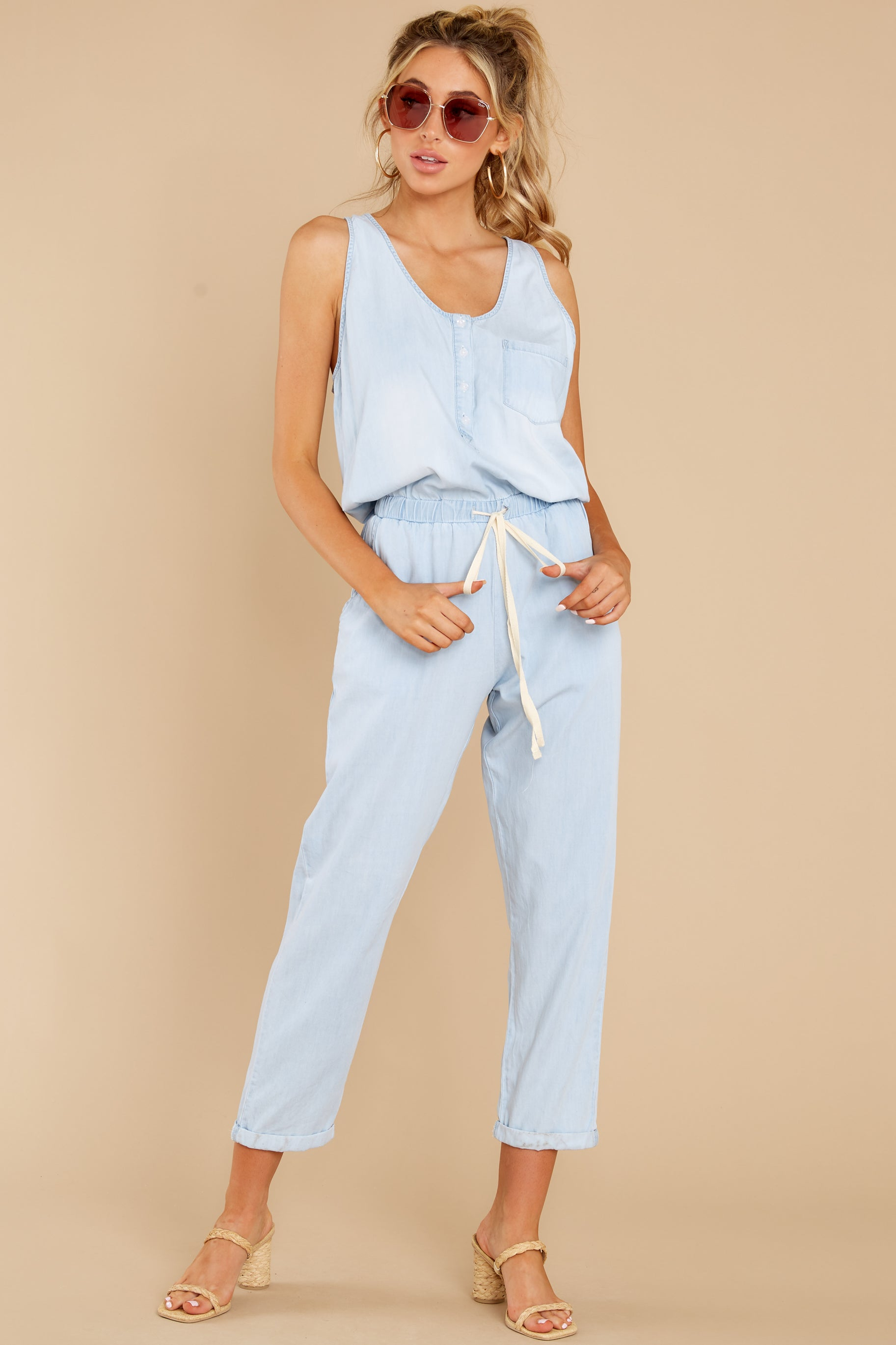 6 Play It Back Light Wash Chambray Jumpsuit at reddress.com
