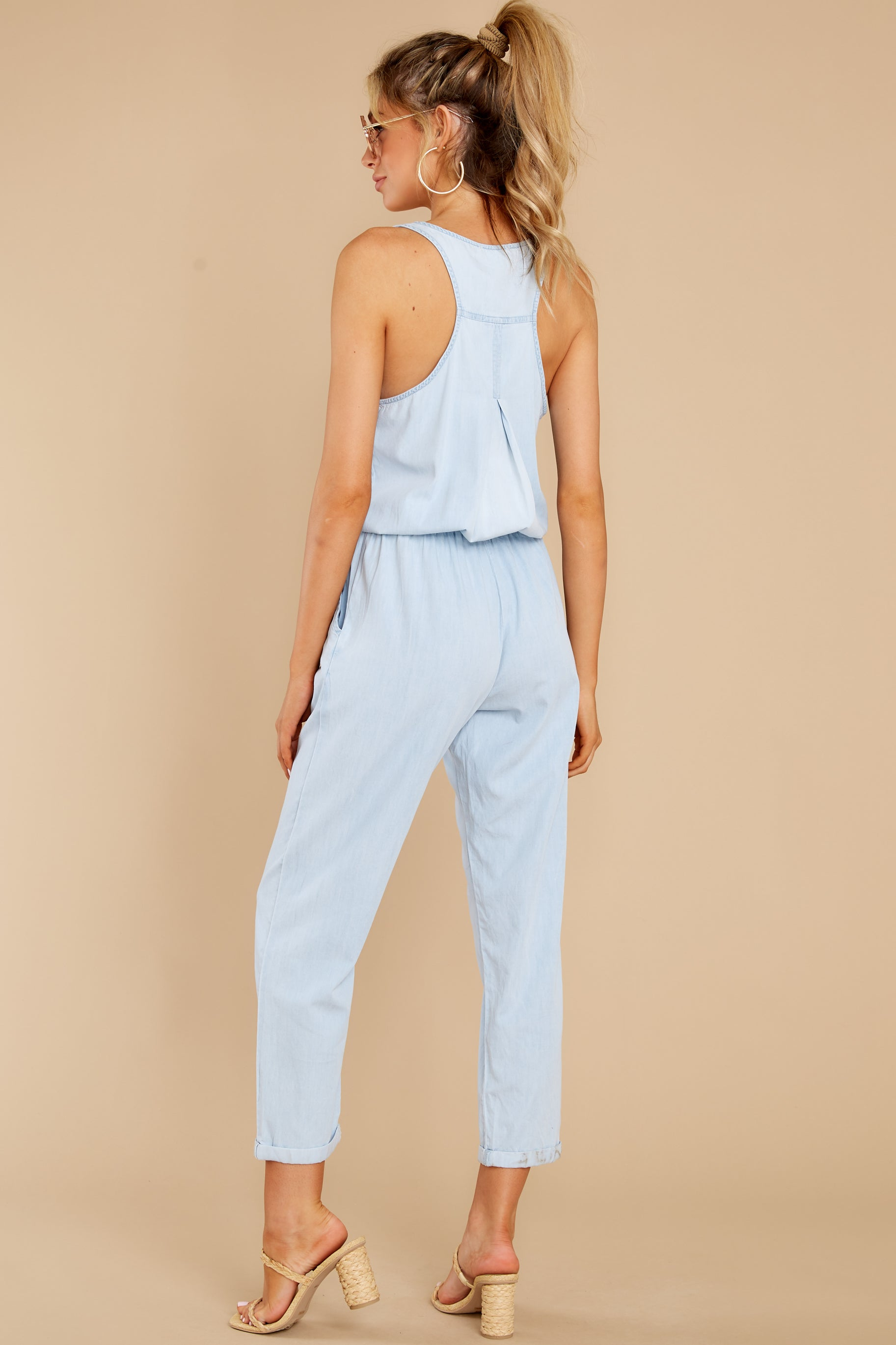 7 Play It Back Light Wash Chambray Jumpsuit at reddress.com