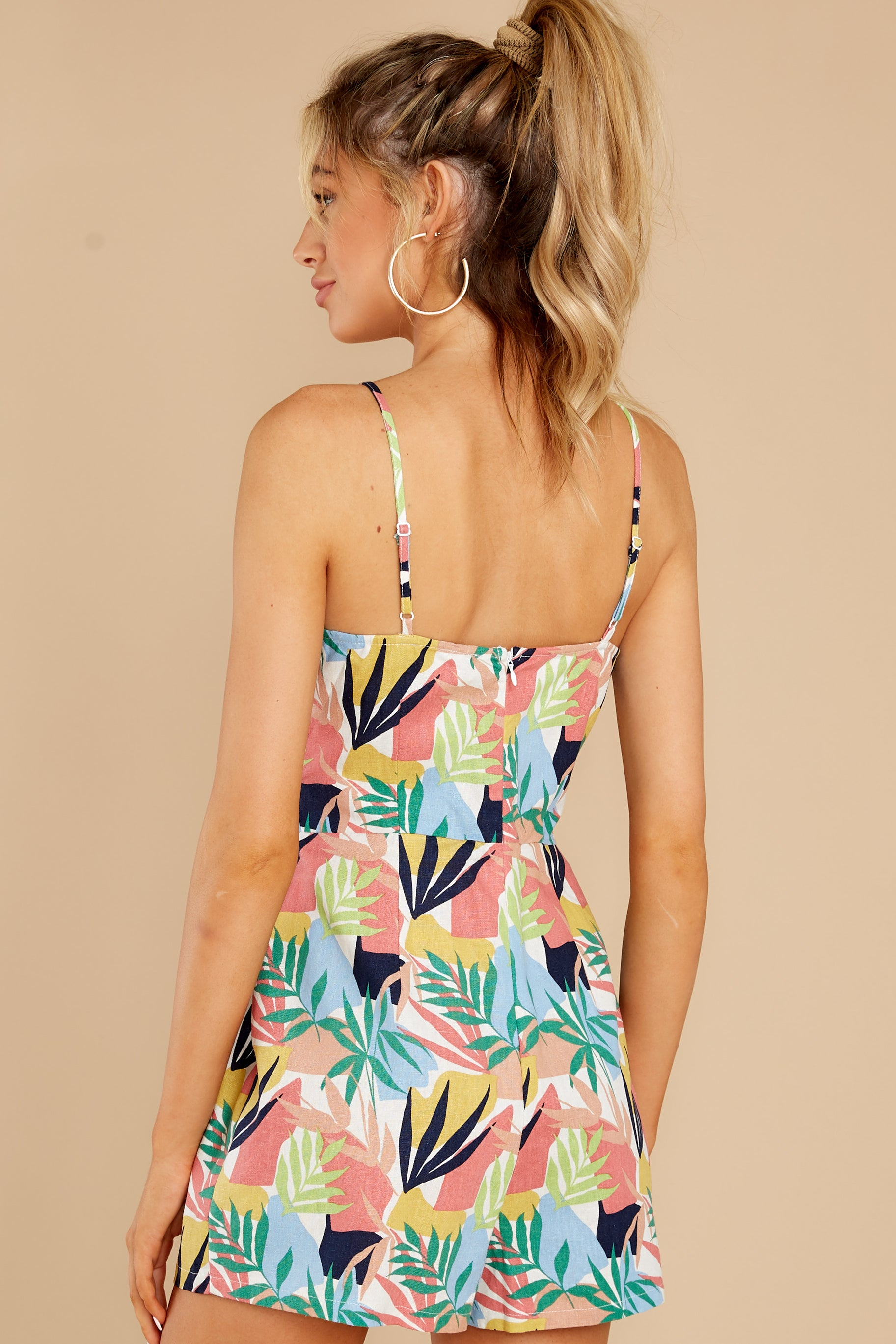 7 Gone For The Weekend White Multi Print Romper at reddress.com