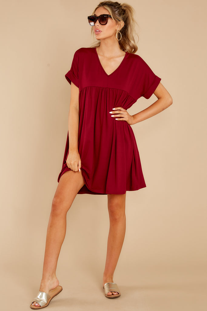 1 In Full Swing Burgundy Midi Dress at reddress.com