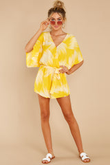 4 Sungazer Yellow Print Romper at reddress.com