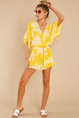 3 Sungazer Yellow Print Romper at reddress.com