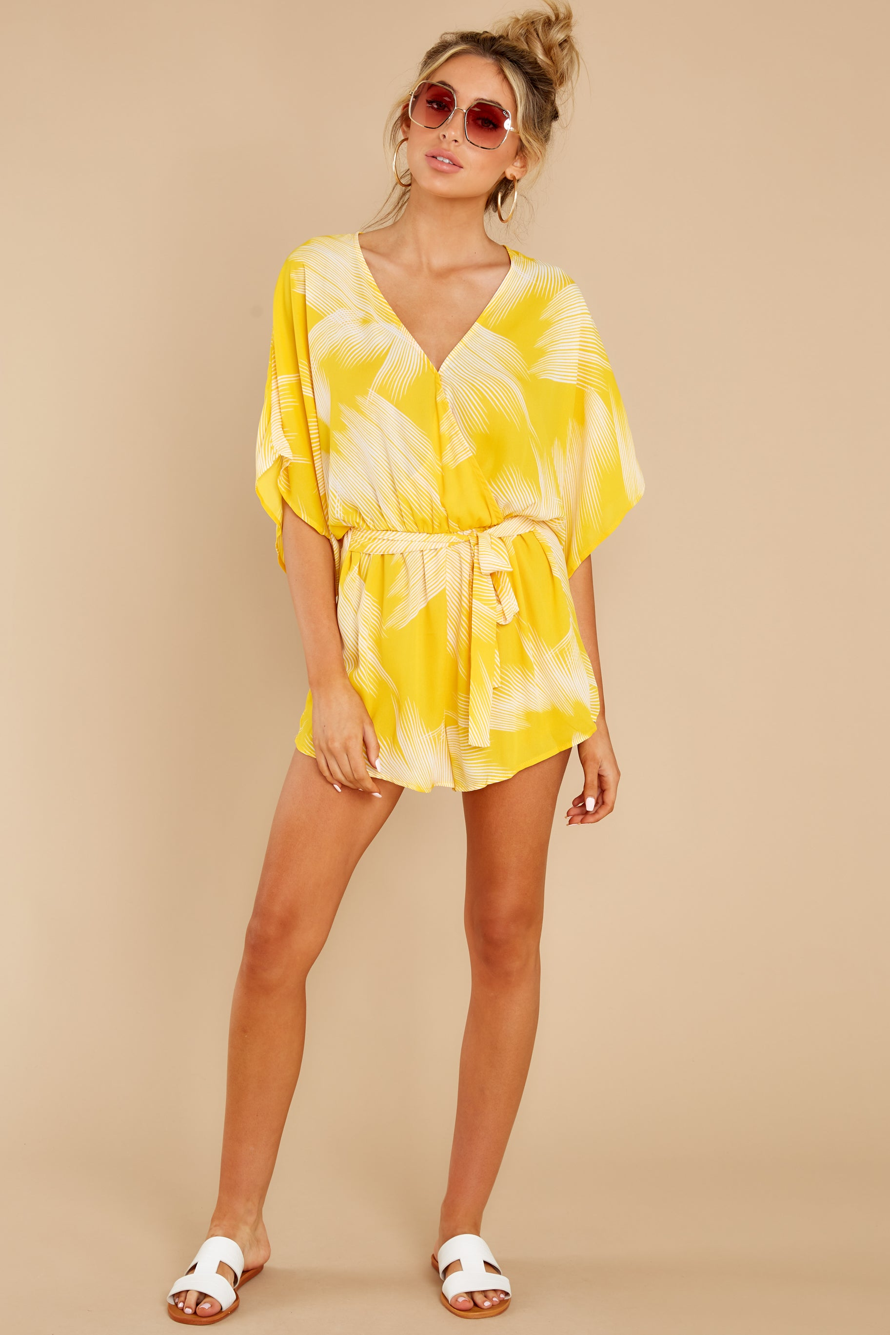 2 Sungazer Yellow Print Romper at reddress.com