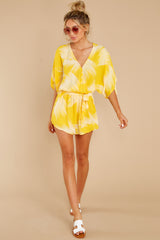 5 Sungazer Yellow Print Romper at reddress.com