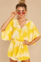 1 Sungazer Yellow Print Romper at reddress.com