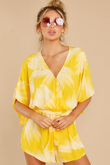 6 Sungazer Yellow Print Romper at reddress.com