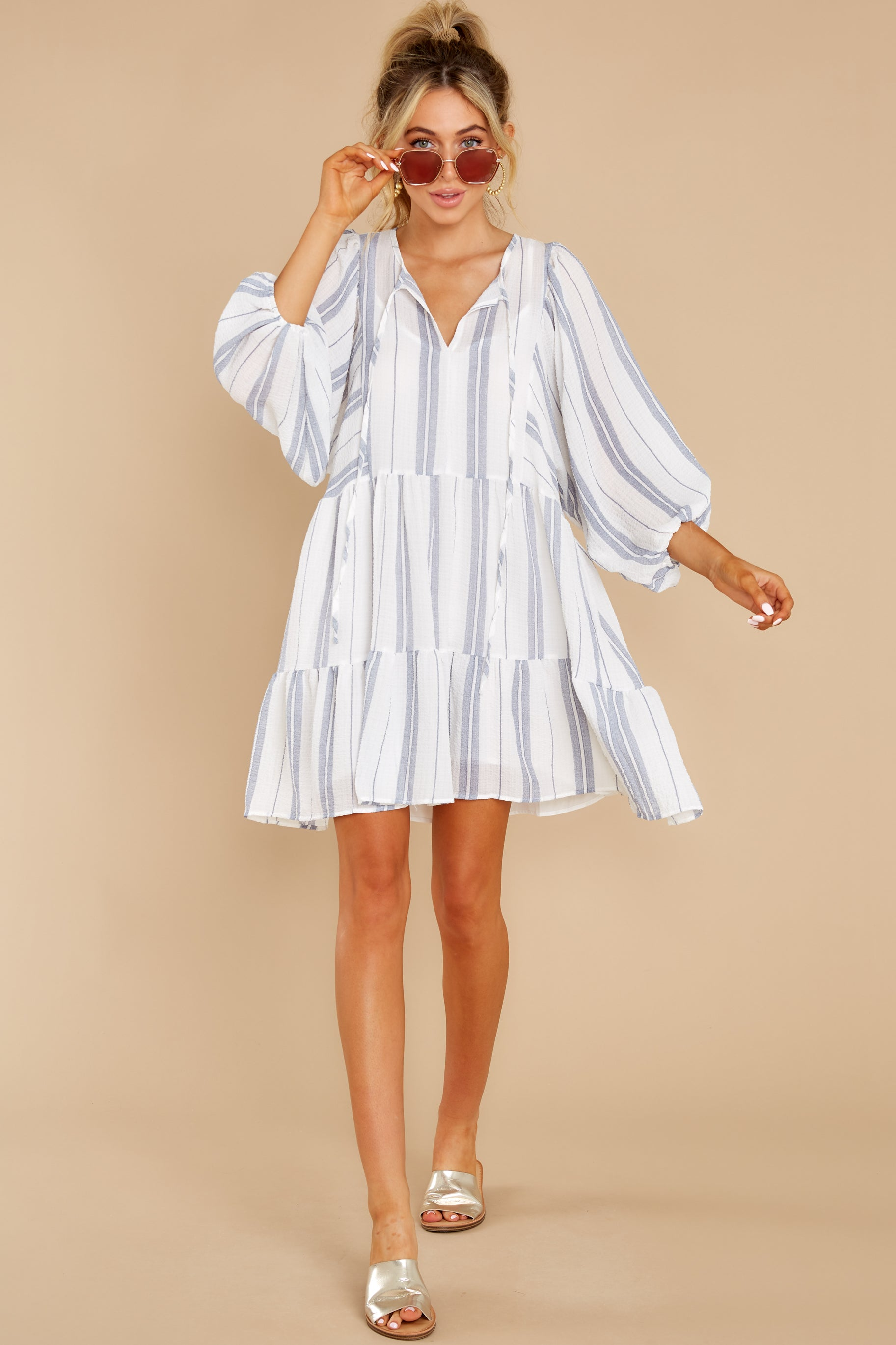 3 Finest Moments White Stripe Dress at reddress.com