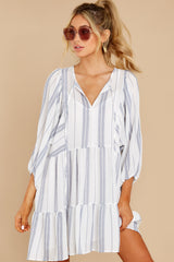 6 Finest Moments White Stripe Dress at reddress.com
