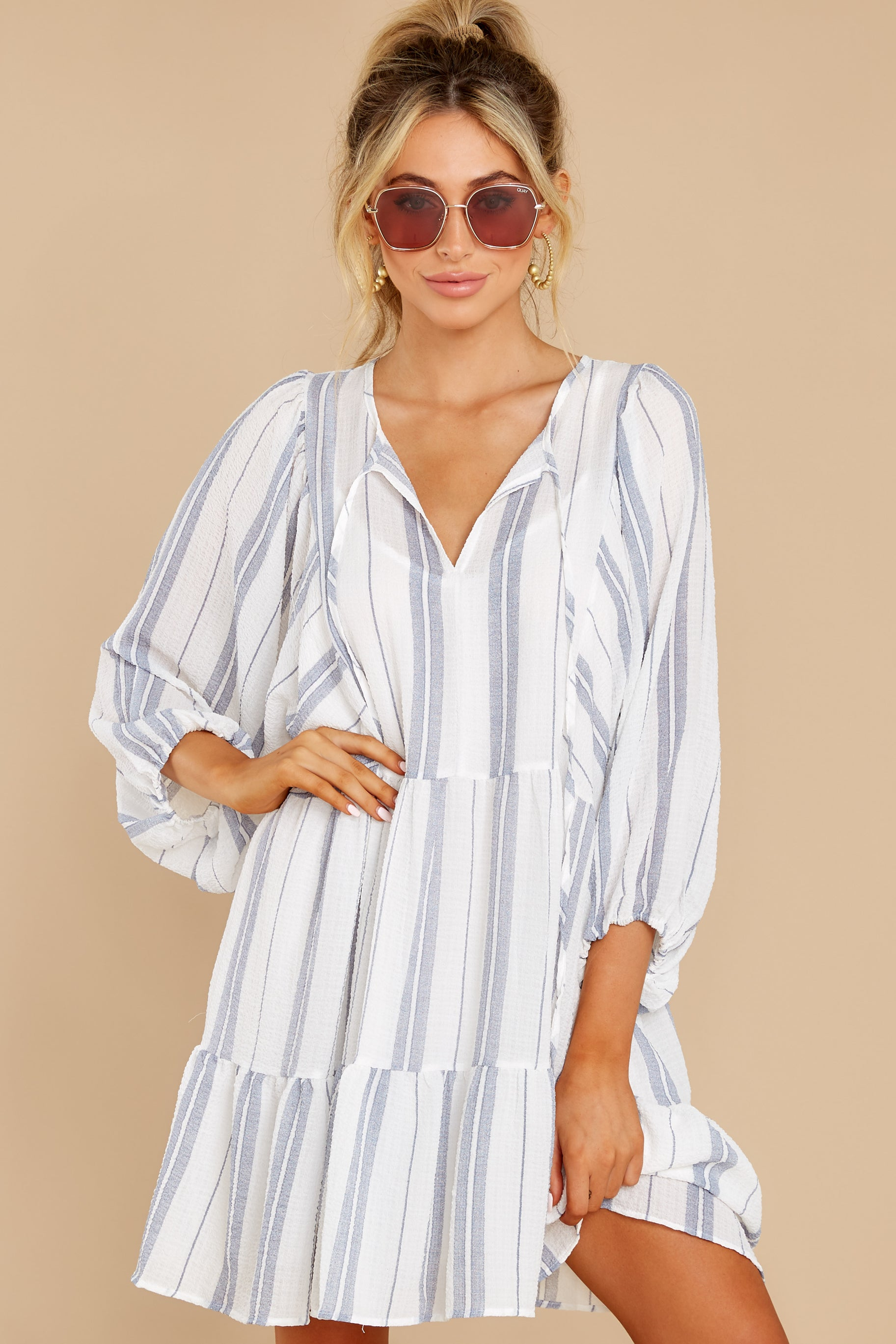 7 Finest Moments White Stripe Dress at reddress.com