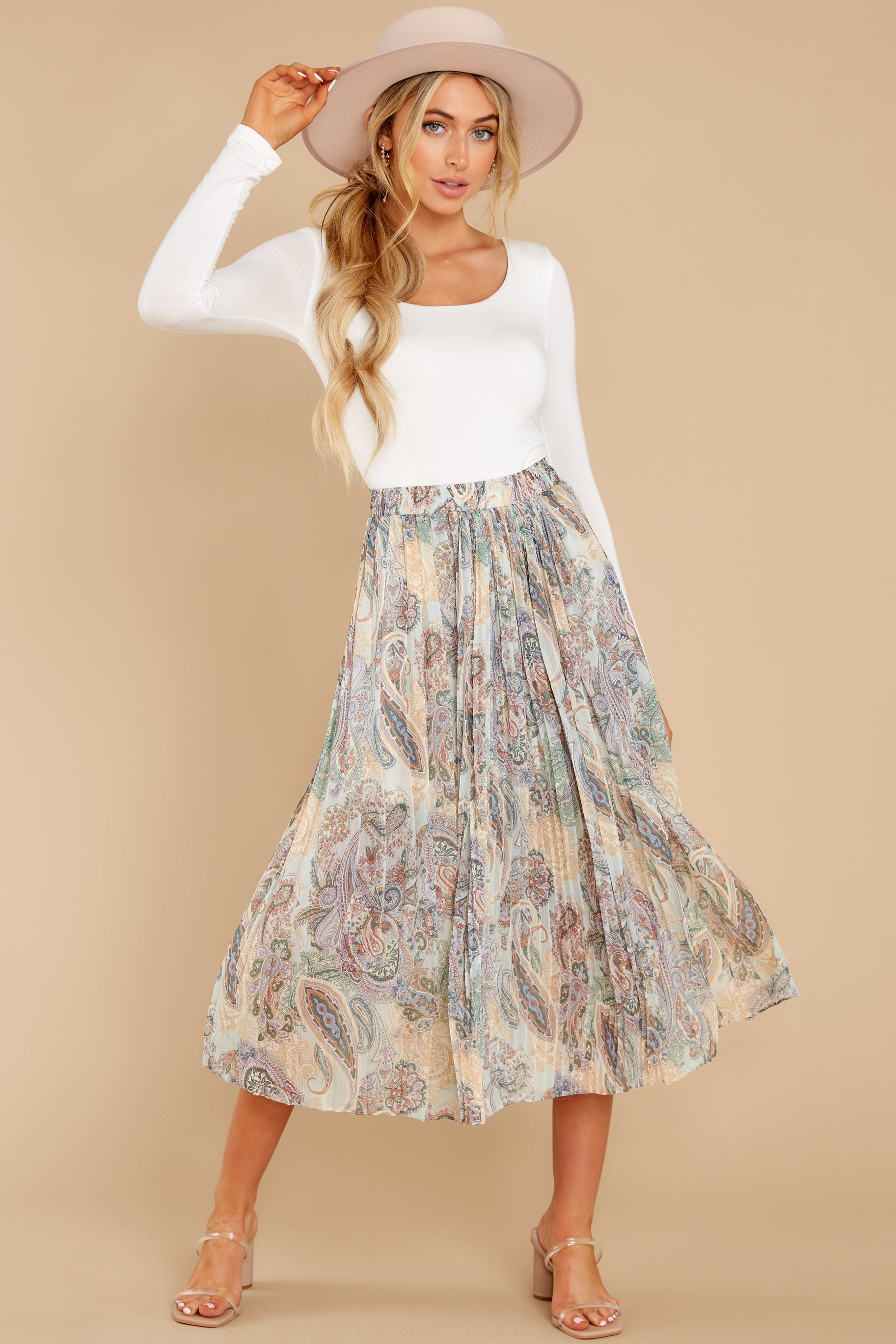 4 In Another Life Mint Paisley Print Midi Skirt at reddress.com