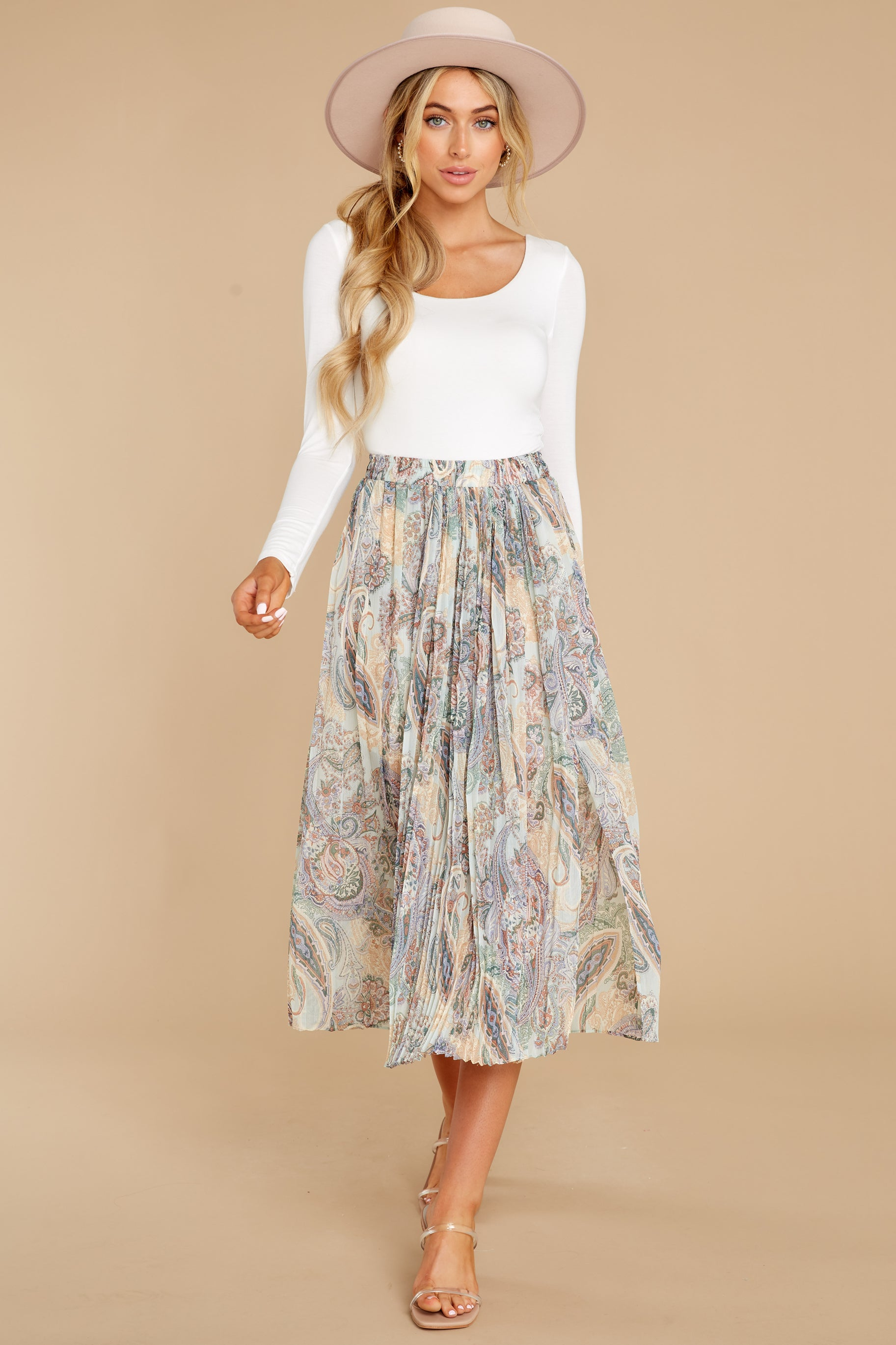 5 In Another Life Mint Paisley Print Midi Skirt at reddress.com