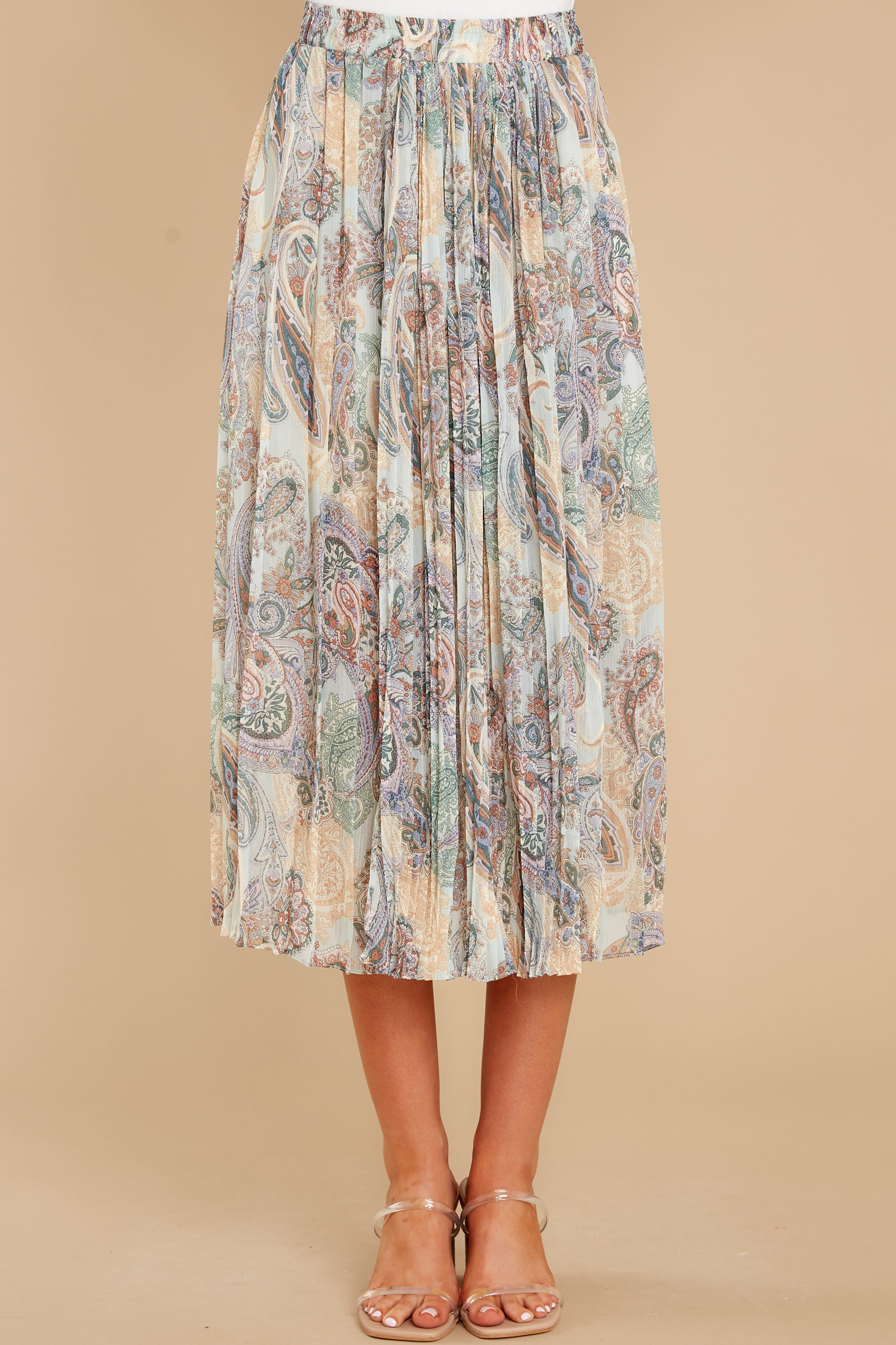 2 In Another Life Mint Paisley Print Midi Skirt at reddress.com