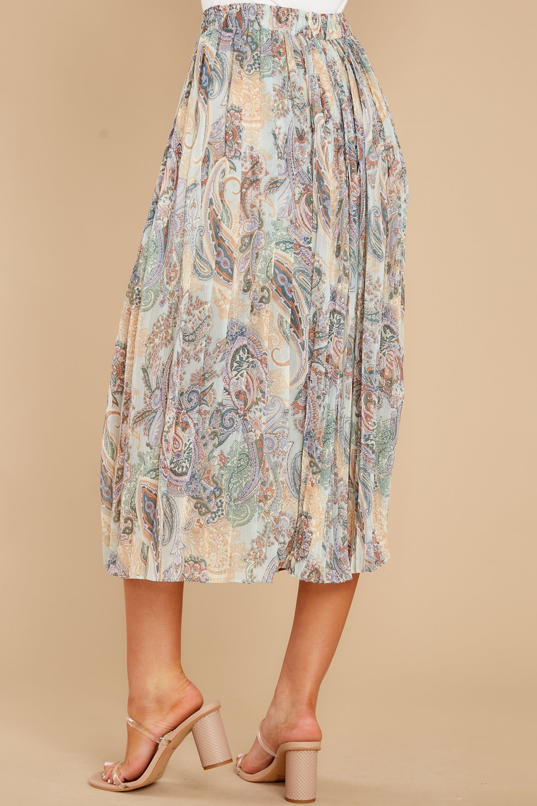3 In Another Life Mint Paisley Print Midi Skirt at reddress.com