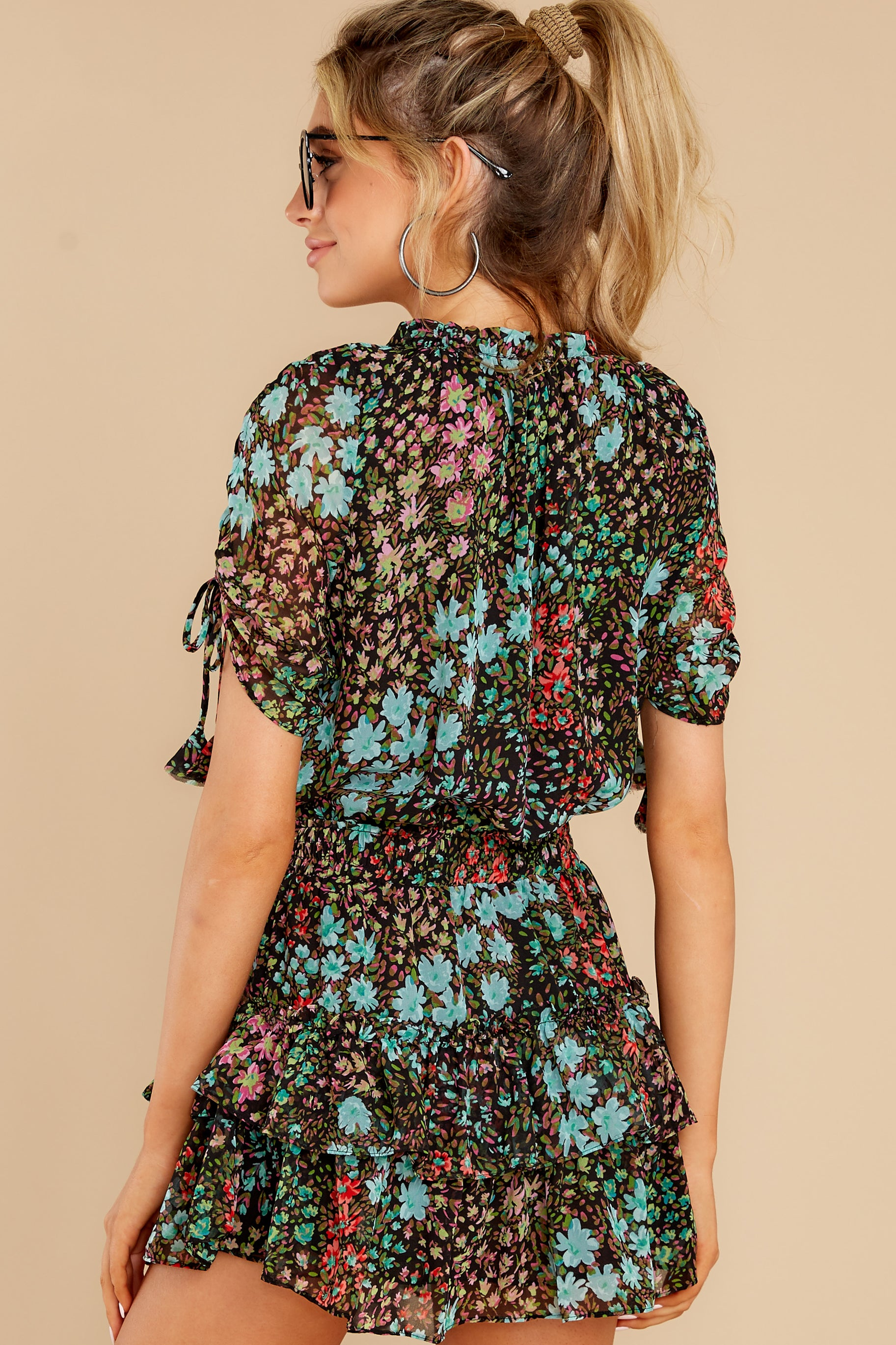 7 If You Don't Black Multi Floral Print Dress at reddress.com