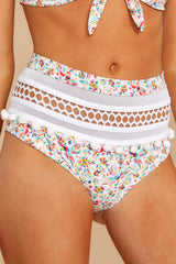 1 Fly Off To Cabo White Multi Print Bikini Bottoms at reddressboutique.com
