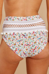 2 Fly Off To Cabo White Multi Print Bikini Bottoms at reddress.com