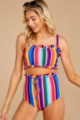 3 Tequila Sunrise Rainbow Stripe Bikini Top at reddressboutique.com