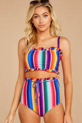 4 Tequila Sunrise Rainbow Stripe Bikini Top at reddressboutique.com