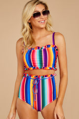 5 Tequila Sunrise Rainbow Stripe Bikini Top at reddressboutique.com