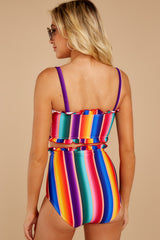 6 Tequila Sunrise Rainbow Stripe Bikini Top at reddressboutique.com
