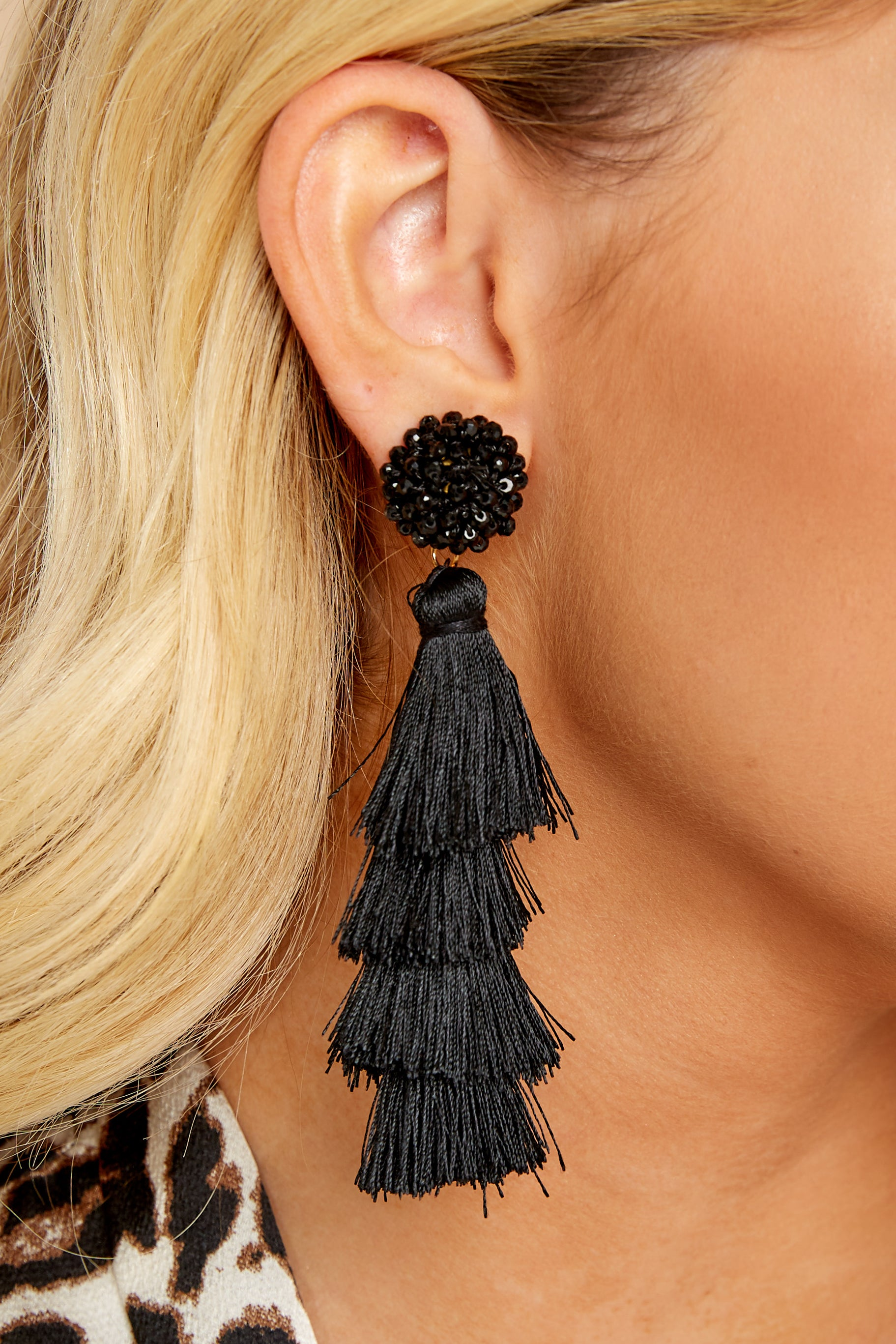 1 Decision Time Black Statement Earrings at reddress.com