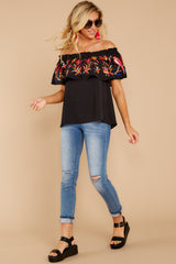 2 Flutter Away With Me Black Embroidered Top at reddress.com