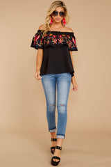 3 Flutter Away With Me Black Embroidered Top at reddress.com