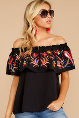 1 Flutter Away With Me Black Embroidered Top at reddress.com