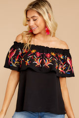 5 Flutter Away With Me Black Embroidered Top at reddress.com