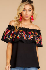 6 Flutter Away With Me Black Embroidered Top at reddress.com