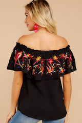 7 Flutter Away With Me Black Embroidered Top at reddress.com