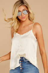1 Sleek And Sassy Cream Satin Tank Top at reddress.com