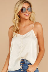 6 Sleek And Sassy Cream Satin Tank Top at reddress.com
