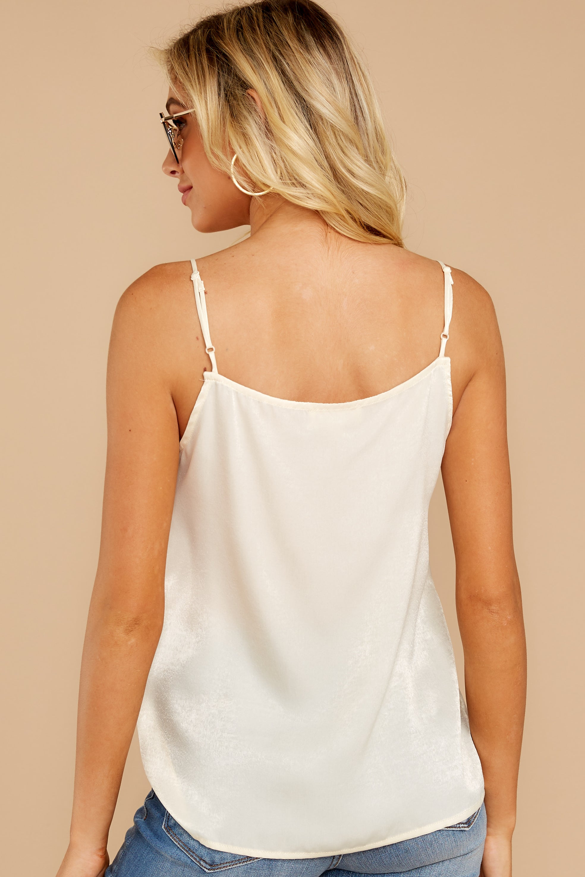 7 Sleek And Sassy Cream Satin Tank Top at reddress.com