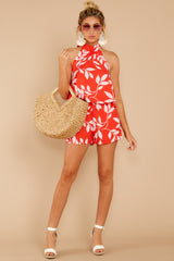 2 Tropical Dreaming Coral Orange Print Romper at reddress.com
