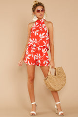 1 Tropical Dreaming Coral Orange Print Romper at reddress.com