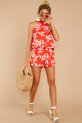 3 Tropical Dreaming Coral Orange Print Romper at reddress.com