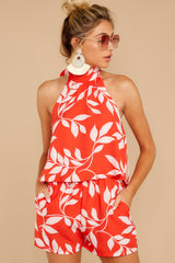 5 Tropical Dreaming Coral Orange Print Romper at reddress.com
