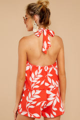 7 Tropical Dreaming Coral Orange Print Romper at reddress.com