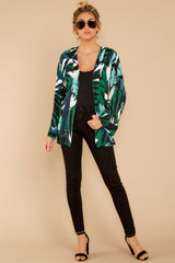 1 Wise Choice Green Tropical Print Jacket at reddressboutique.com