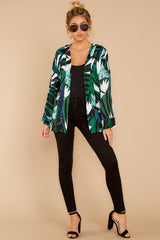 2 Wise Choice Green Tropical Print Jacket at reddressboutique.com