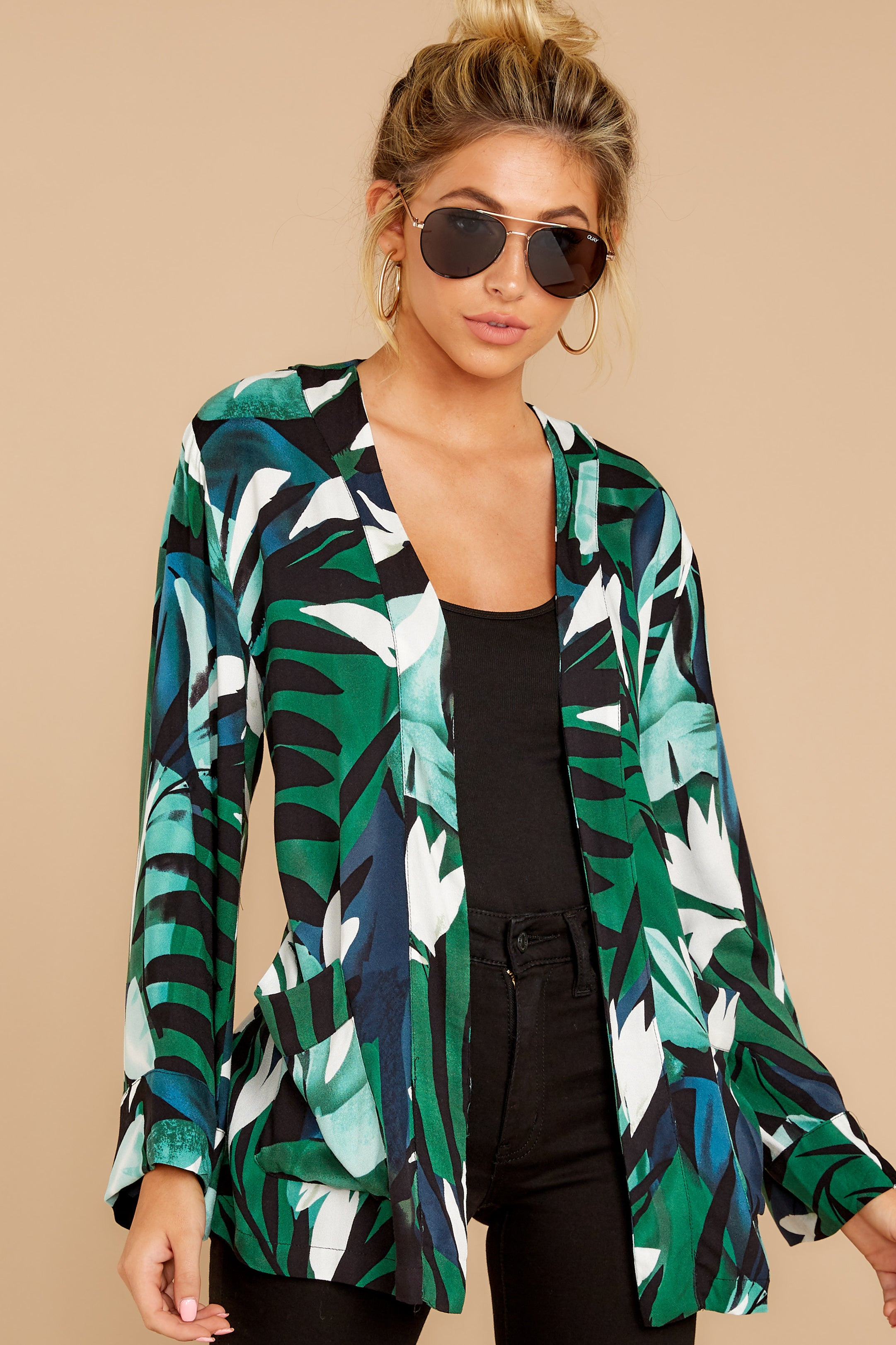 4 Wise Choice Green Tropical Print Jacket at reddressboutique.com