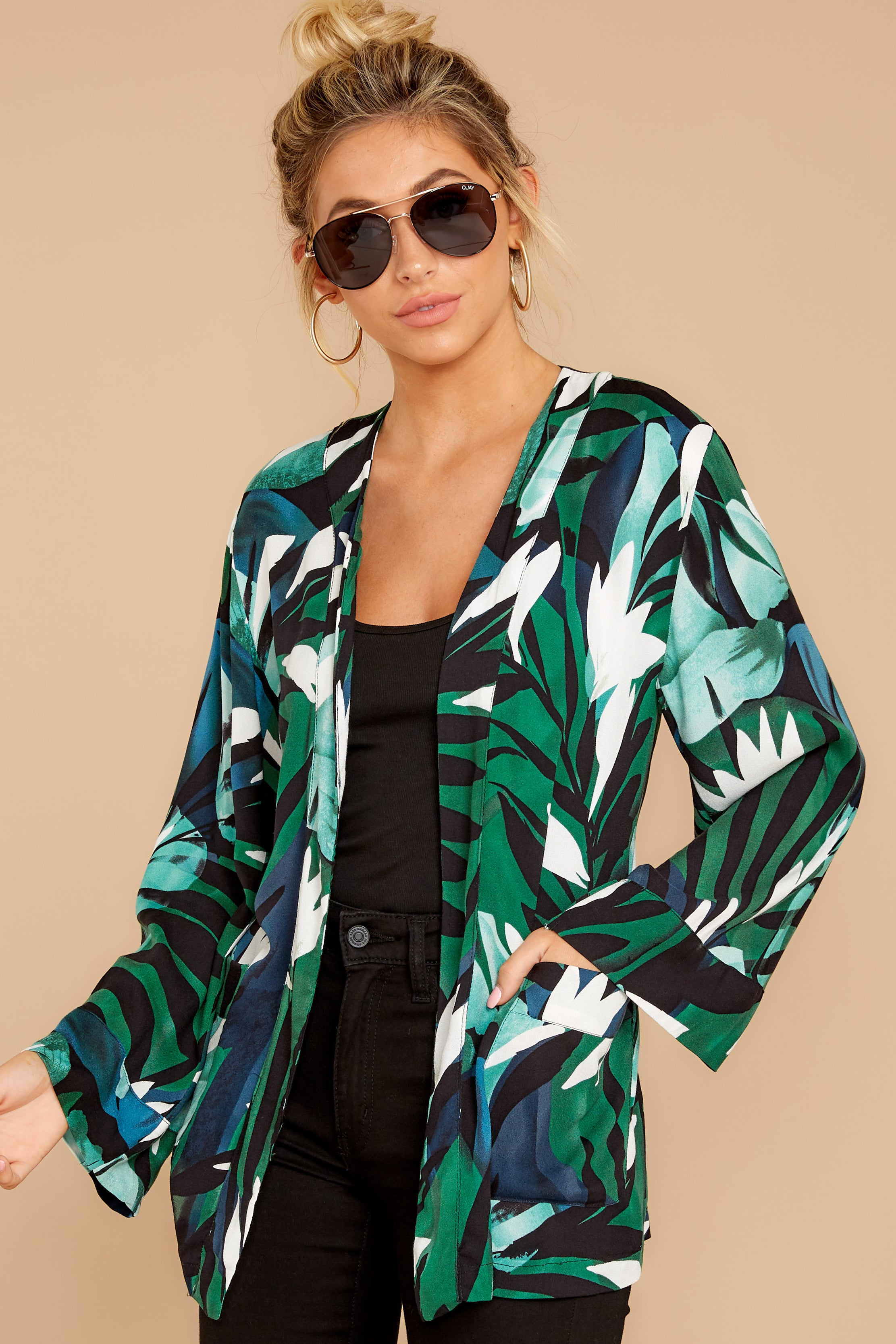 5 Wise Choice Green Tropical Print Jacket at reddressboutique.com