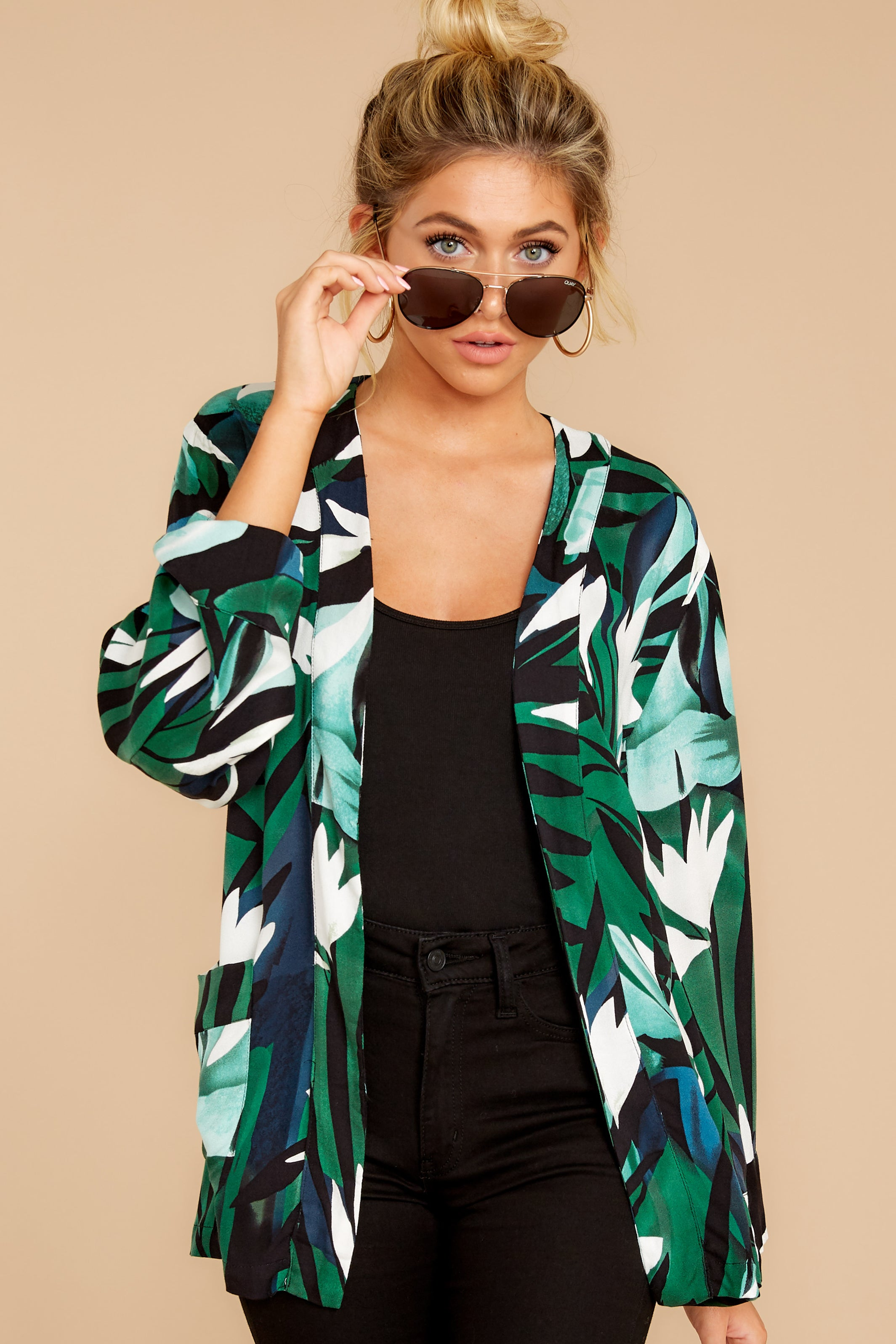 6 Wise Choice Green Tropical Print Jacket at reddressboutique.com