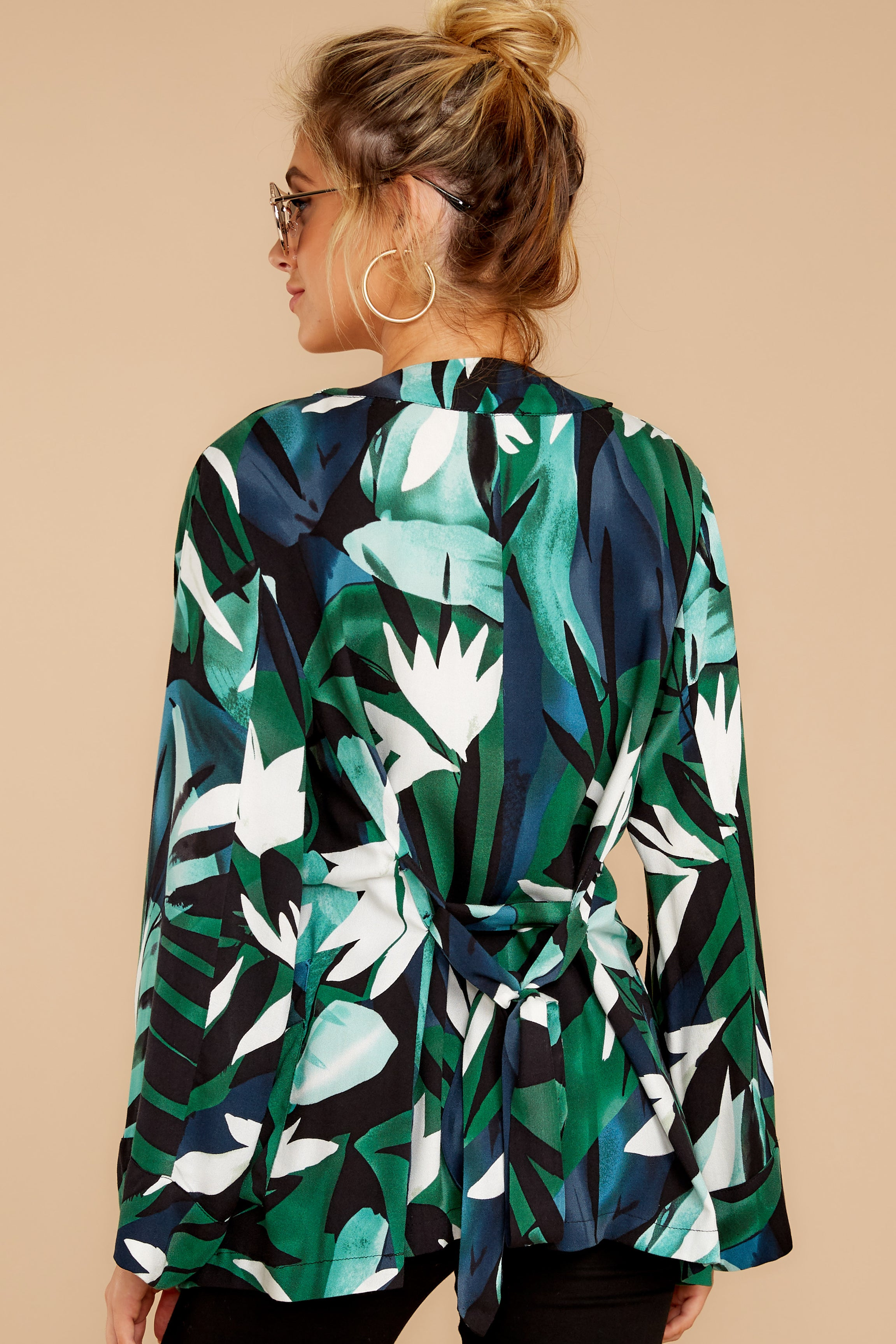 7 Wise Choice Green Tropical Print Jacket at reddressboutique.com