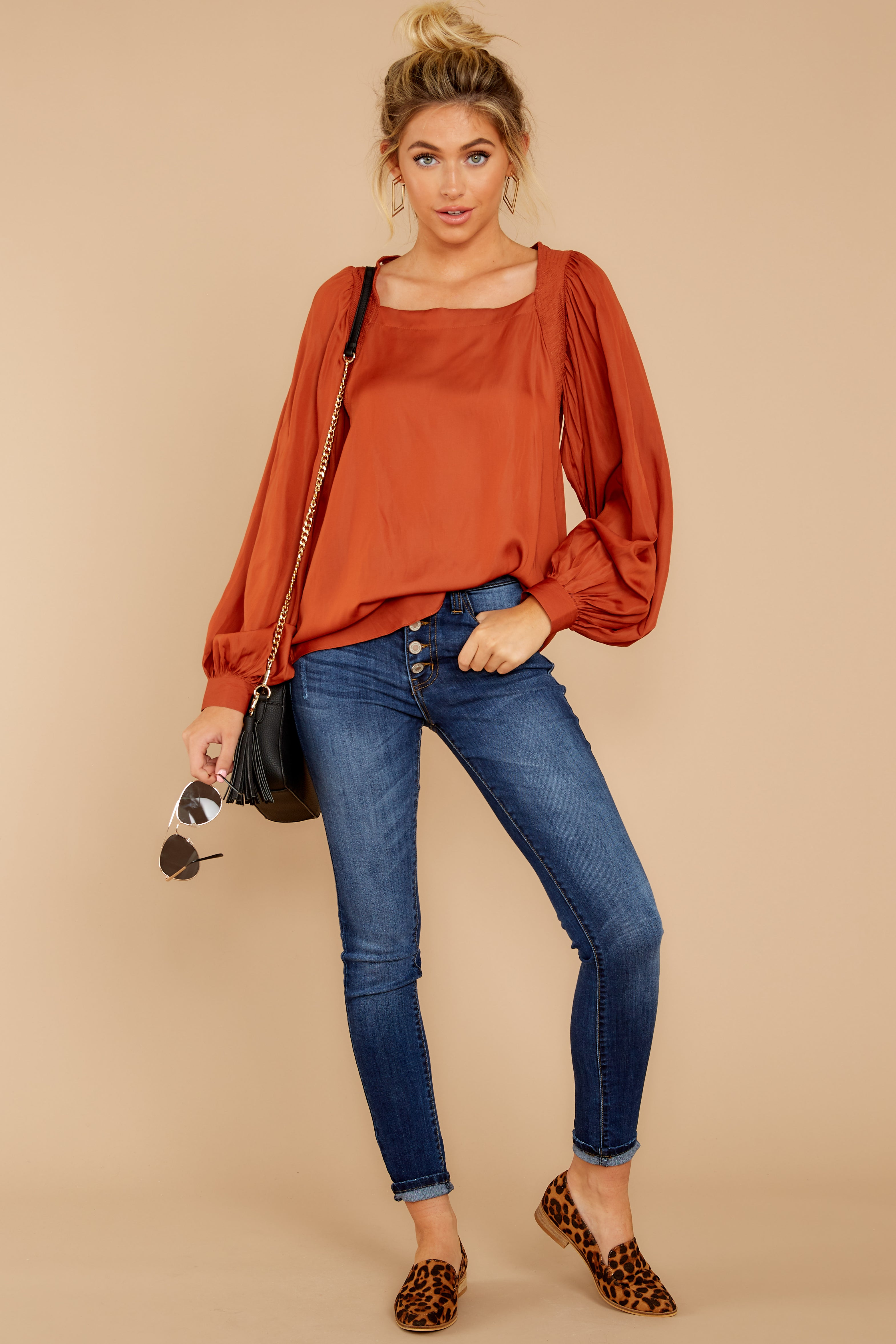 2 Sunday Brunch Golden Orange Top at reddressboutique.com