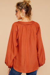 7 Sunday Brunch Golden Orange Top at reddressboutique.com