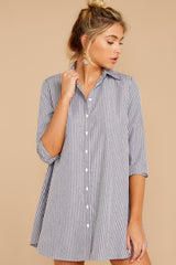 6 Mayday Monday Grey Stripe Button Up Dress at reddressboutique.com