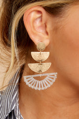 1 Goddess Tiers Gold Earrings at reddressboutique.com